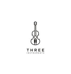 guitar piano violin fiddle cello bass music logo vector image
