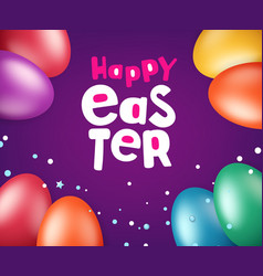 Happy easter greeting card with holiday elements vector