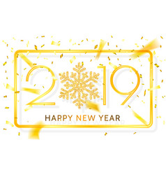 happy new year 2019 golden numbers with ribbons vector image