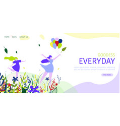Horizontal flat banner goddess everyday daily vector