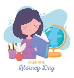 international literacy day student girl reading vector image