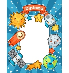 Kawaii space diploma Doodles with pretty facial vector image