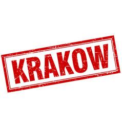 Krakow red square grunge stamp on white vector