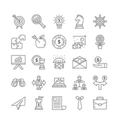 large set black and white line drawn business vector image