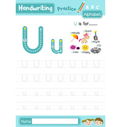 Letter u uppercase and lowercase tracing practice vector