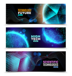 Luminescent geometric shapes banners set vector