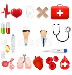medical icons and equipments tools vector image