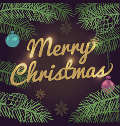 merry christmas background with pine tree vector image