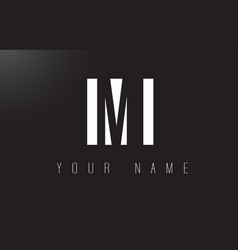 Mi letter logo with black and white negative vector