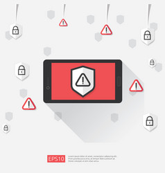 mobile phone with attention warning alert sign vector image