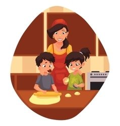 Mother and children preparing cookies in kitchen vector