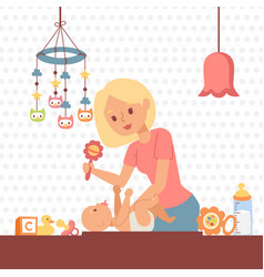 Mother changing baby diaper vector