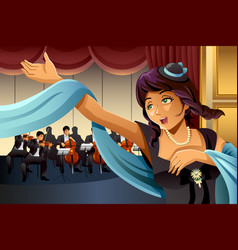 Opera singer singing on the stage vector