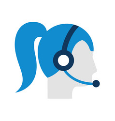 Operator woman profile customer service wearing vector