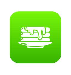 pancakes icon green vector image
