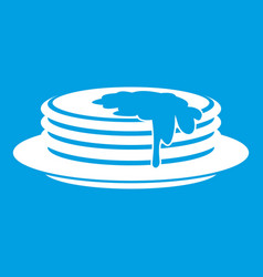 Pancakes icon white vector