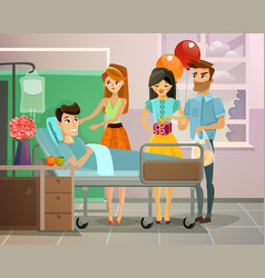 Patient with visitors vector