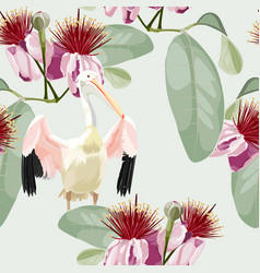 Pelican bird palm leaves feijoa flowers vector