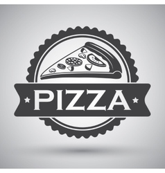 Pizza slice emblem vector image