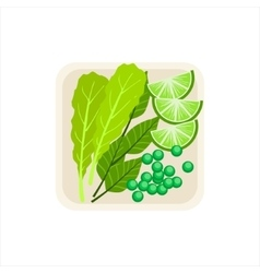 Plate With Fresh Salad Leaves Green Peas And Lime vector