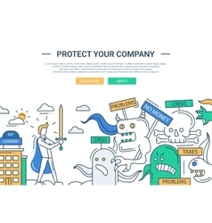 Protect your company line flat design banner vector