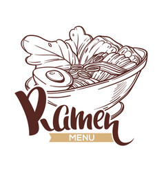 Ramen menu logo template with bowl full of vector