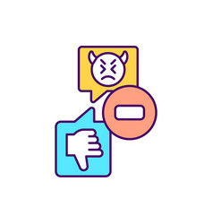 receiving dislikes on social media rgb color icon vector image