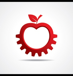 Red apple make gear shape business technology vector image