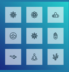 relax icons line style set with meditation vector image