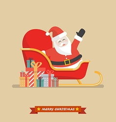 Santa claus on a sleigh with piles of presents vector image