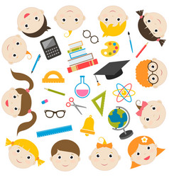 School theme icons and funny kids vector