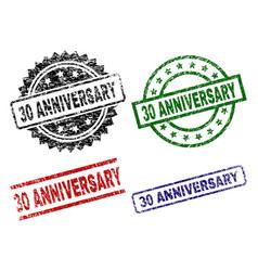 scratched textured 30 anniversary stamp seals vector image
