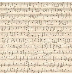 seamless old cardboard texture with music notes vector image