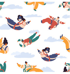 seamless pattern with happy people skydiving vector image
