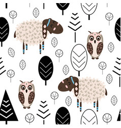 Seamless pattern with lamb and owl in forest scand vector