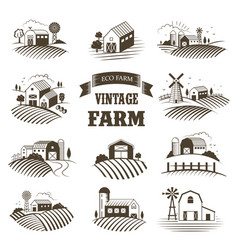 Set isolated vintage eco farms landscapes vector