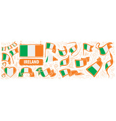 Set national flag ireland in vector