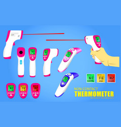 Set non contact thermometer or infrared vector