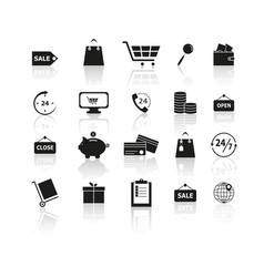 set of black shopping reflection icons vector image