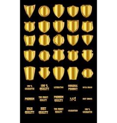 Set of vintage design elements-golden shields and vector image