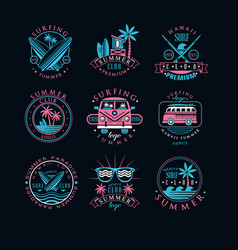 Set of vintage logos for surfing club vector