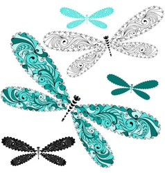 Set vintage dragonflies vector