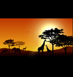 Silhouette animals on savannas in the afternoon vector