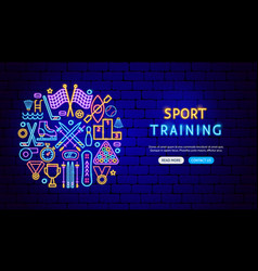 sport training neon banner design vector image