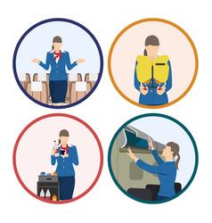 stewardess serves passengers on airplane vector image