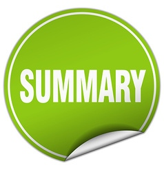 Summary round green sticker isolated on white vector