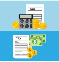 Tax time flat line icons vector