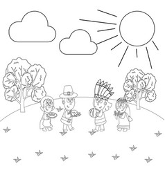 thanksgiving day coloring page vector image