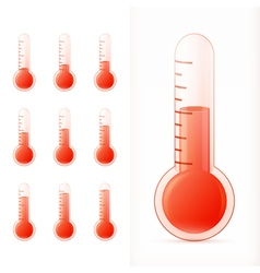 thermometer red set different states vector image
