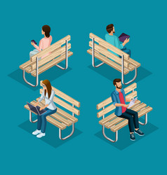 trendy people isometric 3d teenager vector image